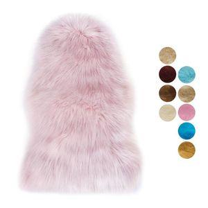 Carpets Rug Long Hair Solid Mat Seat Pad Home Decor Luxury Rectangle Soft Sheepskin Fluffy Area Faux White Fur Carpet