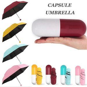مصغرة واقية من الشمس كبسولة المطر مظلة طوي مكافحة الأشعة فوق البنفسجية أندبروف جيب صغير مظلات مدمجة حالة لسفر المطر والعتاد