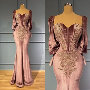 2021 Plus size árabe aso ebi sereia veludo sexy vestidos de baile comprido mangas compridas bordado noite festa formal segunda recepção vestido vestido zj410