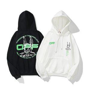 Sudaderas con capucha para hombres Blanco 20ss otoño invierno nuevo conejo cabeza bordado verde letras hombres y mujeres suéter de peluche 02d5