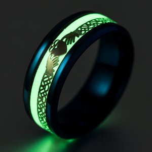 Titanium steel jewelry luminous Cartoon palm pattern ring fluorescent men's ring mix size 6-13#
