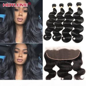 Indian Body Wave 4 Bundle Hair with Lace Frontal Closure 8-28 inch Unprocessed India Virgin Human Hair Extensions Body Wavy HOTLOVE Products