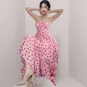 French waist Summer down Chiffon Polka Dot Dress 2021 new chic suspender fairy medium length dress 5ZAA