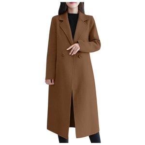 Muqgew inverno casaco mulheres 2021 lã casual botão longo jaqueta botão elegante manga trabalho escritório moda jaqueta # g3 mulheres femininas