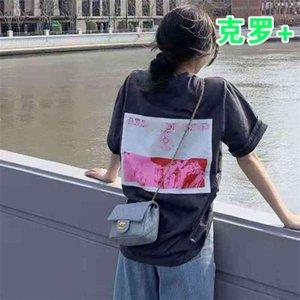 65% скидка на выходе Интернет-магазин марки CHAO обратно вклейшенные ткани высокие уличные люди свободные и тонкие круглые шее футболка, то же самое для мужчин