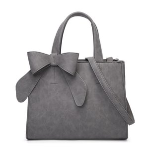Solid PU leather women's handbag with bow decoration large capacity Tote Bag fshion Simple design Purse