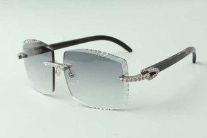 2021 designers endless diamonds sunglasses 3524022, cutting lens natural black textrued buffalo horn glasses, size: 58-18-140mm