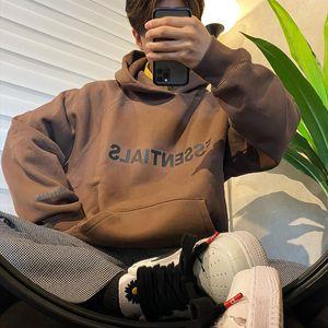FOG Fear of God Essentials Pullover Hoodie 3D Silicon Applique Front Logo Fleece Hoodie Casual Oversize Sweatshirt Hip Hop Streetwear