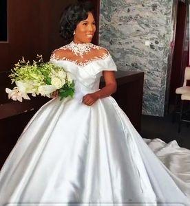 Vinatge High шеи шариковое платье свадебные платья с коротким рукавом иллюзия иллюзия с коротким рукавом 2021 длинные атласные свадебные платье-код. Поезд на заказ Африканская невеста формальная одежда