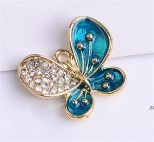 Factory Shiny Enamel Butterfly Pendants for Nail Art Shoes charm Jewelry Making Crafting Charms Necklaces Bracelets Handmade Findin HWE9836g