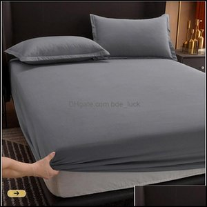 Sheets Bedding Supplies Textiles Home Gardensheets & Sets Soft Fitted Sheet With Elastic Band Solid Bed Er-Wrinkle,Fade,Stain And Abrasion R