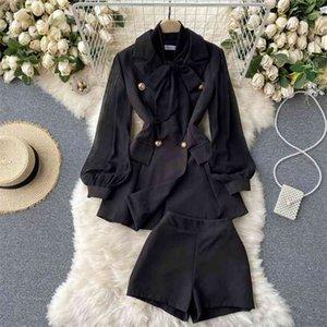 Fashion Korean Ol 2 Set de Pierna Trajes Mujeres Arco Manga Larga Blazer Abrigo + Pantalones cortos de cintura alta Conjuntos Femeninos Primavera Dos trajes 210514