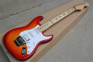 Chitarra elettrica di colore arancione personalizzato della fabbrica con intarsio di Fretboard stella, pickup ssh, collo dell'acero, hardware cromato, fornire servizi personalizzati