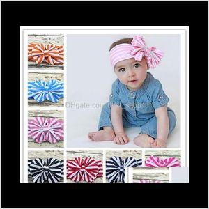 8 Colors Baby Stripe Bowknot Hairbands Headwrap Infant Head Bands Headband Kids Elastic Headwear Bow Children Accessory X4Tqn Accessor Zub2G