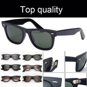 Top Qualität 2140 50mm 54mm Clameninnen Frauen Sonnenbrille Männer Frauen Square Acetat Frame echte UV400 Glas Linsen Frauen Männer Sonnenbrille mit Zubehör