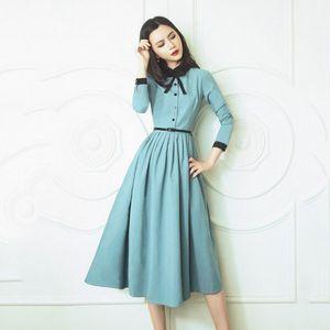 SISJULY-VESTIDO MANGA LARGA MUJER, Literarios Elegantes Ajustados de Cintura Alta, Vestidos Retro Franceses para