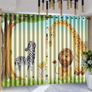 3d Modern Animal Curtain Cute Forest Animals Zebra Giraffe Cartoon Mural Interior Home Decor Living Room Bedroom Window Blackout Curtains