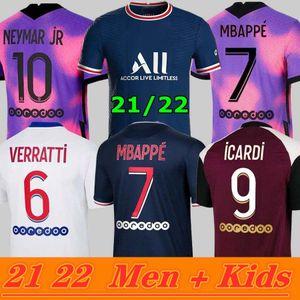 PSG Soccer Jersey Maillots Fútbol 20 21 22 Mbappe Icardi Camisa Hombres Niños Maillot De Pie Hommes Enfants Kimpembe 4to Gana Kean Neymar Marquinhos