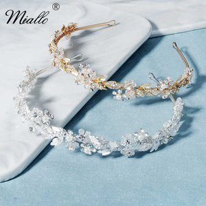Miallo Fashion Flower Crystal Headbands for Women Hair Accessories Silver Color Crown Wedding Bridal Jewelry Headpiece Gift 210616