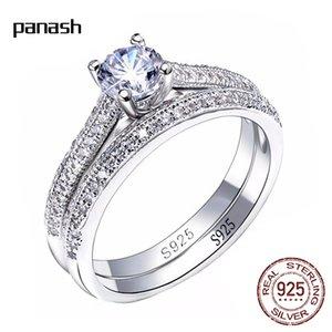 Coppia anello set autentico 925 sterling argento cubico zirconia anelli di fidanzamento gioielli per le donne R033