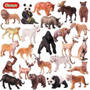 High-quality DHL simulation animal model toy figures solid plastic giraffe elephant rhino brown bear tiger lion leopard horse childrens gift