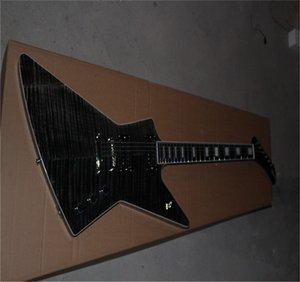 جودة عالية الغيتار الكهربائي الأسود الغريبة التقاطات النشطة اللؤلؤة المحظورة الأبنوس الأصابع