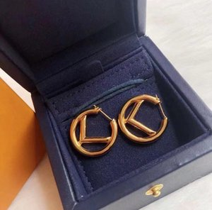 Fashion gold Hoop & Huggie earrings aretes for lady Women Party wedding lovers gift engagement jewelry for Bride with box NRJ