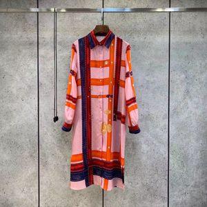2021 Long Sleeve Lapel Neck Print Fashion Milan Runway Dress Designer Dress Brand Same Style Dress 0318-10