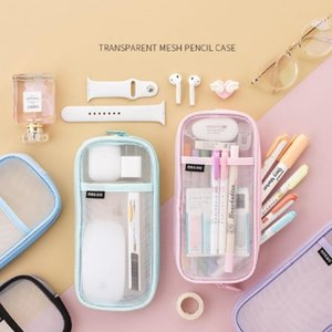 Pencil Bags 1pc Nylon Transparent Mesh Case Large-capacity Pen Bag Cute Storage For Student School Supplies Stationery