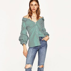 Autumn Women Shirts Loose Casual Blouses Sexy Off Shoulder Blusas Slash Neck Long Sleeve Buttons Stripe Tops