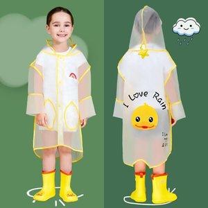 Children's girls transparent waterproof men's outdoor little yellow duck primary school children's kindergarten raincoat