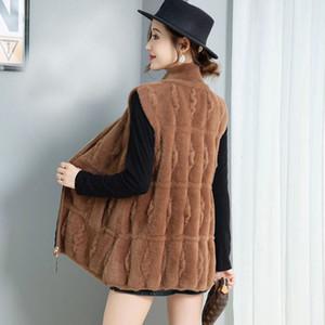 Collection de peau de fausses femmes avec fermeture à glissière Spring sans manches Cardigan Jacket Mesh Imitation Vison Wool Vest Y1508 Z7E0