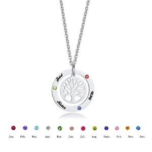 Nombre de grabado personalizado Collar de piedra de nacimiento Árbol de familia del colgante de la vida para las mujeres Neckalce Acero inoxidable Charm Cuello de zircon Collares