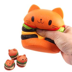 Cartoon Cat Hamburger Slow Rising Squeeze Squishy Kids Decompression Doll Scented Exquisite Fun Relaxing Therapy Stress Relief FWE9411