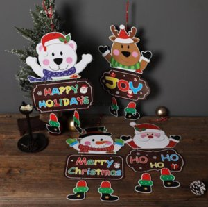 Christmas Ornaments Paper Board Door Window Hanging Pendant Welcome Merry Christmas Boards Xmas Decorations Santa Claus Snowman C2991