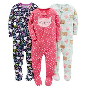 Boys and girls baby cotton rompers, foot coveralls, jumpsuits, children's warm pajamas, no cover rompers 210915
