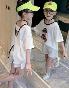 Girls Sports Clothes Sets Children 2021 Teenage Kids Girl's Short sleeve + Shorts 2 pcs summer clothing