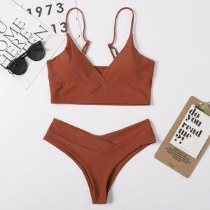 2021 Neuer Nylon Solid Split Frauen Multi Color Swimsuit Bikini
