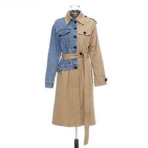 Women's Trench Coats Denim Hit Color Patchwork Long Sleeve High Waist Lace Up Female Coat Fashion Jakcet