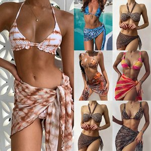 2021 European and American Bikini Three-piece Leopard Print Skirt Women's Swimwear