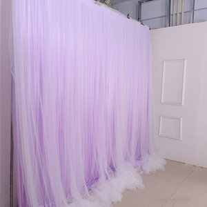 Fashion 3MX6M Double Layer Fabric Wedding Stage Background Veil Decorations Curtain Birthday Party Centerpieces Scene Layout