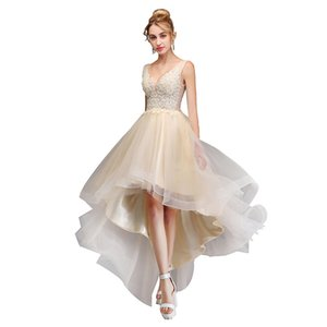 Charming Short Cocktail Dresses High Low Prom DressWith 3D Floral Applique Full Lace Formal Evening Gowns Custom Party