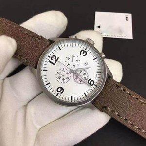2021 высококачественный роскошный хронограф белый циферблат кварцевые часы черный коричневый кожаный ремешок поверхности диаметр: 45 мм