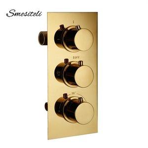 Золотая латунная 3 набор набора термостатического контроля смесительный клапан кран ванна Ванна Душ Диавертер холодные краны
