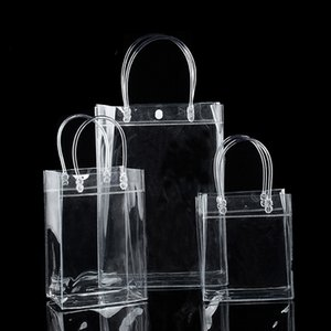 Packing Office School Business & Industrial Limited 10Pcs Lot Transparant Pvc Gift Tote Packaging Bags With Hand Loop, Clear Plastic Handbag