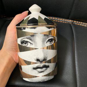 Handmade Gold Style Lady Girl Face Candle Holder Candles Jar Bin Ceramic Crafts Home Decoration Candelabra Storage Box