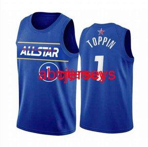 Obi Toppin 2021 All-Star Eastern Blue Personnalisé Toute personne Numéro Numéro Hommes Femmes Jeux Basketball Jersey XS-6XL