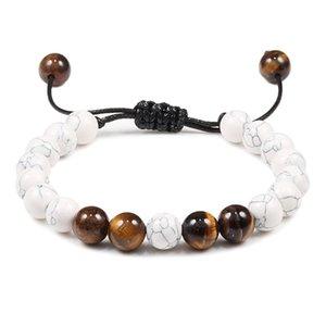 Tiger Eye Beads Bracelets Men Lava Rock Stone Essential Oil Diffuser Bracelet Braided Rope Buddha Bracelet Bangle Adjustable