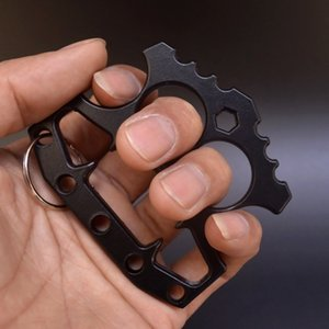 Two Finger Shark Clasp Fist Ring Lifesaving Tiger Self Defense Weapon Vehicle Equipped with Wrench Bottle Opener IC6F