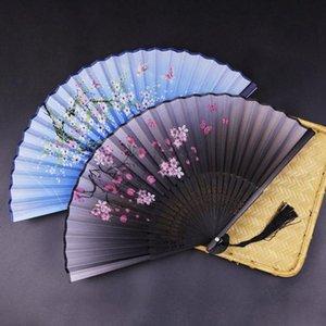 Japnese نمط الصيف خمر الخيزران للطي باليد الكرز أزهار مروحة الرقص الصيني حزب جيب الهدايا الزفاف ملون صالح